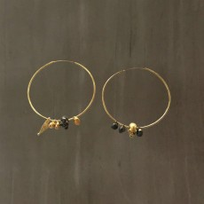SKULL AND BEADS HOOP EARRINGS