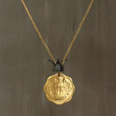COIN AND CROWN NECKLACE